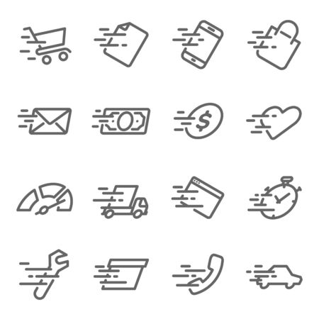 Fast Speed Icon Set. Contains such Icons as Fast Service, Delivery, Speed, Run, Boost and more. Expanded Stroke
