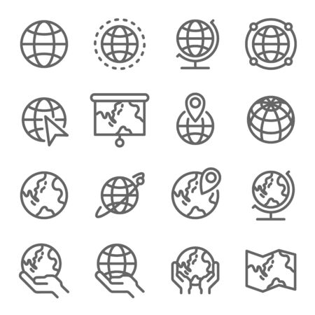 Globe Icon Set. Contains such Icons as World Map, Pin, Speed, Run ,Boost and more. Expanded Stroke
