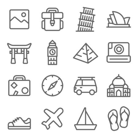 Travel Landmark Icon Set. Contains such Icons as Torii, Opera house, Taj mahal ,Big Ben and more. Expanded Stroke