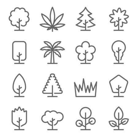 Tree Icon Set. Contains such Icons as Grass, Marijuana, Palm ,Coconut and more. Expanded Stroke Ilustração