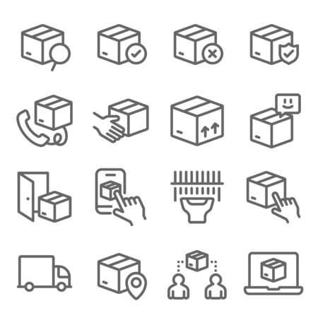 Shipping Delivery Service icons set vector illustration. Contains such icon as Logistic, Package Protection, Express, Transport and more. Expanded Stroke Ilustração