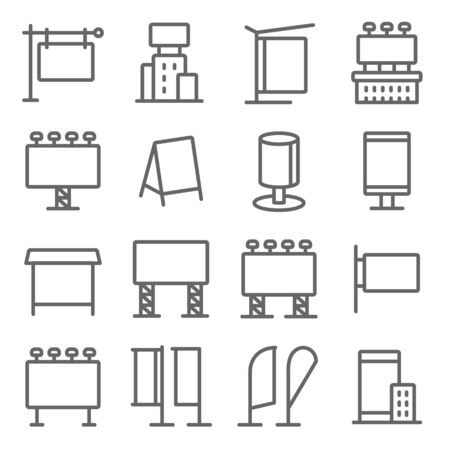 Digital Advertise Media icons set vector illustration. Contains such icon as Advertising, Poster, Billboard, Signage, Ads and more. Expanded Stroke