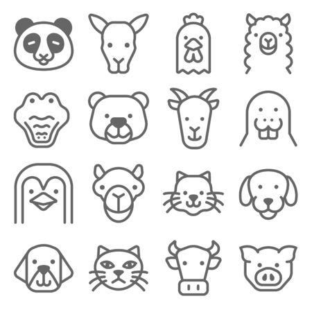 Animal Icon Set. Contains such Icons as Panda, Dog, Cat ,Pig and more. Expanded Stroke Illustration