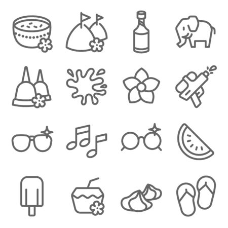Songkran Festival set vector illustration. Contains such icon as Bangkok water festival, Coconut, Music, Water splash and more. Expanded Stroke
