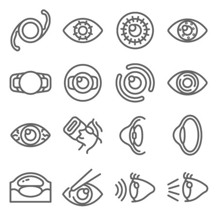 Eye Surgery Ophthalmologist set vector illustration. Contains such icon as Cataract Surgery, Corneal Surgery, Intrastromal Corneal Ring, Dry Eye and more. Expanded Stroke