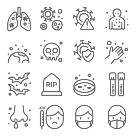 Covid 19 virus icons set vector illustration. Contains such icon as Pneumonia, Vaccine, Mask, Fever and more. Expanded Stroke