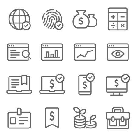 Business icons set vector illustration. Contains such icon as Trending, Briefcase, Growth, Investment and more. Expanded Stroke