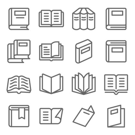 Book icons set vector illustration. Contains such icon as Open book, Bookmark, Magazine, Novel and more. Expanded Stroke Ilustração