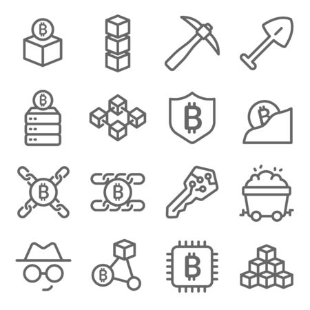 Blockchain icons set vector illustration. Contains such icon as Cryptocurrency, Dig, Private key, Database and more. Expanded Stroke