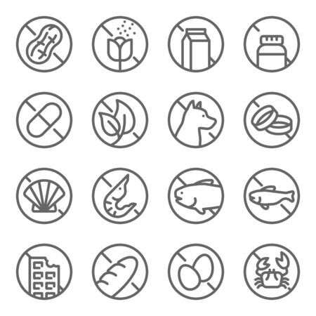 Allergy set vector illustration. Contains such icon as Peanut, Chocolate, Milk, Shell Fish, Wheat and more. Expanded Stroke