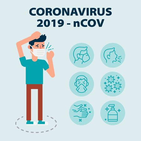 Infographic with set of icons about coronavirus Wuhan virus disease with illustrated sick man wearing mask
