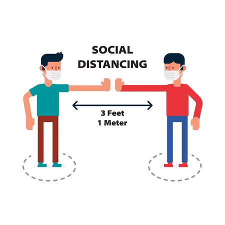 Social distancing, Keep the 1 meter distance in public to protect from COVID-19 coronavirus outbreak spreading concept,