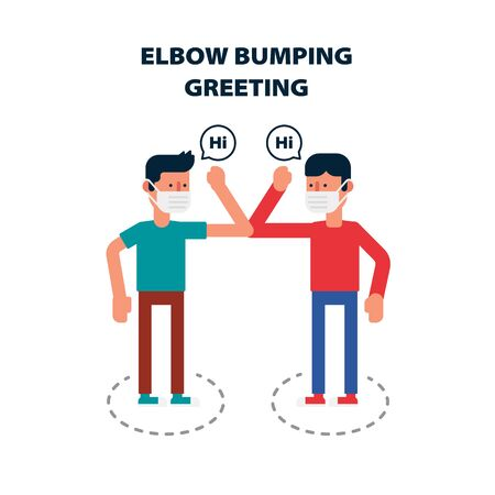 Social distancing, Elbow bumping protect from COVID-19 avoid the spread of coronavirus Instead of greeting with hug or handshake