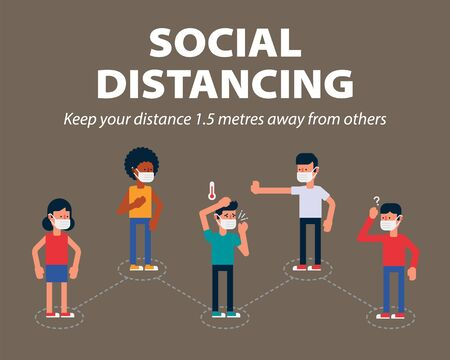 Social distancing, Keep the 1 meter distance in public to protect from COVID-19, one way to slow the spread of coronavirus