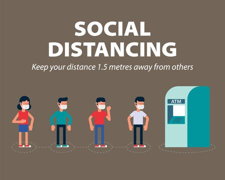Social distancing, Keep the minimum 1 meter distance in public to protect from COVID-19, coronavirus infographic