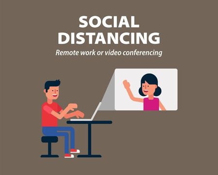 Social distancing, Remote work or video call conferencing to protect from COVID-19, coronavirus infographic Ilustração