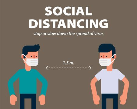 Social distancing, protecting from COVID-19, Coronavirus vector illustration infographic flat design