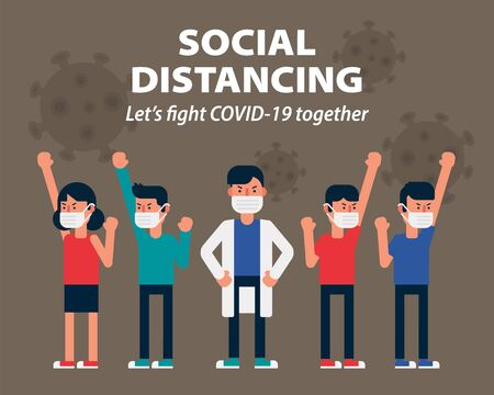 Let's fight Covid-19 together for health with wearing face mask vector illustration Ilustração