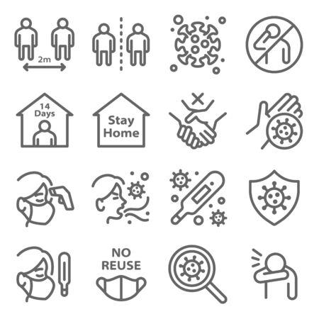 Distanciamiento social para protegerse de la enfermedad del coronavirus COVID-19 conjunto de iconos ilustración vectorial. Contiene íconos como máscara, cuarentena, tos, autoaislamiento, control de temperatura y más. Carrera expandida Ilustración de vector