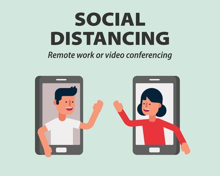 Social distancing, Work from home or Mobile video conference call protecting from COVID-19, Coronavirus vector illustration infographic flat design