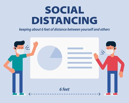 Social distancing, Showing business project plan presentation on projection screen and keep distance from COVID-19, Coronavirus vector illustration infographic flat design