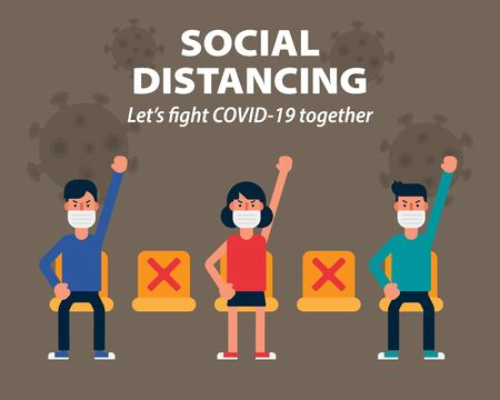 Social distancing, Sitting far apart stay safe keep distance, illustration infographic flat design