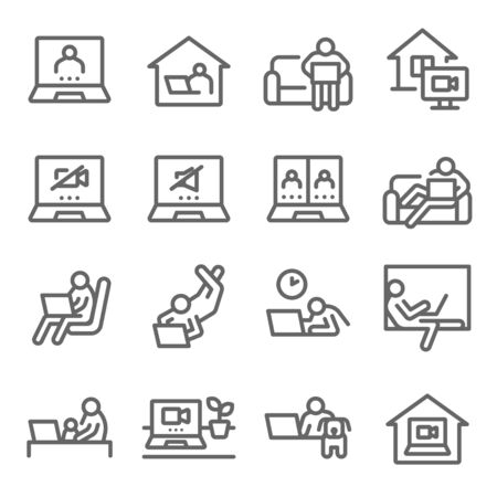 Work from home icon set vector illustration. Contains such icon as conference call, video call, online meeting, working space, freelance in comfortable conditions and more. Expanded Stroke Ilustração