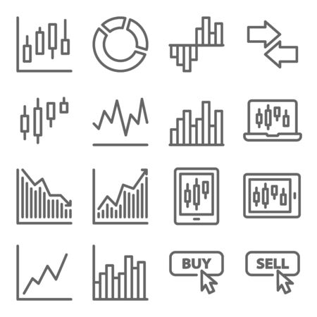 Stock trading icon set vector illustration. Contains such icon as Online trading, Buy, Sell, Portfolio, Candle, Pie chart and more. Expanded Stroke Ilustração