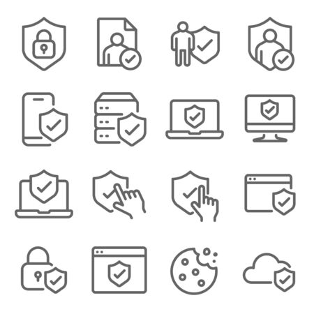Privacy Policy symbol icon set vector illustration. Contains such icon as Cookie, website, browser, mobile, database, Cloud and more. Expanded Stroke