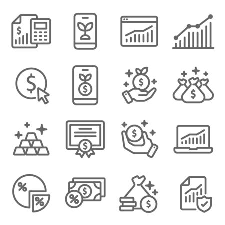 Investment symbol icon set vector illustration. Contains such icon as Gold, Portfolio, Certificate, Stock market, Growth, Finance and more. Expanded Stroke
