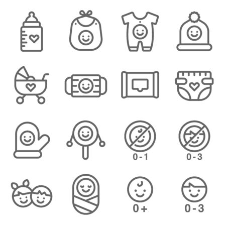 Baby symbol icon set vector illustration. Contains such icon as Baby accessories, Infant, Toy, Stroller, Diapers, pyjamas and more. Expanded Stroke