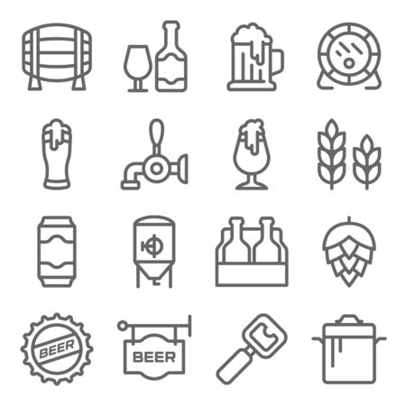 Craft Beer symbol icon set vector illustration. Contains such icon as Hops Brewing, Barley, Brew pot, Ale, Brewery, Beer Packs and more. Expanded Stroke
