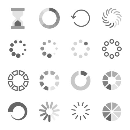 Loading symbol icon set vector illustration. Contains such icon as Hourglass, Waiting, Processing, Loader, Time, Buffering and more. Expanded Stroke