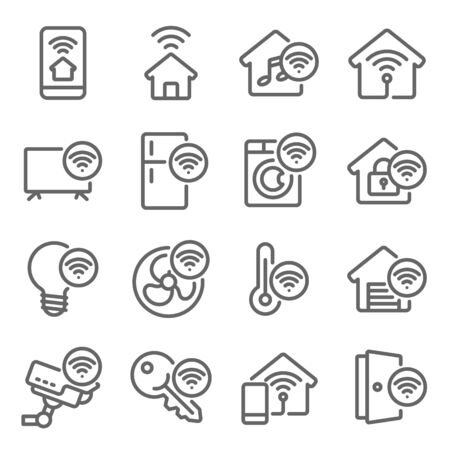 Smart Home icon set vector illustration. Contains such icon as Smart TV, Smart Light, Safety House, Temperature control, Electric Equipment and more. Expanded Stroke Ilustrace