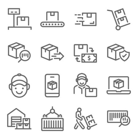 Logistic Shipping icon set vector illustration. Contains such icon as Warehouse, Courier, Delivery, Parcel, Container and more. Expanded Stroke Ilustração