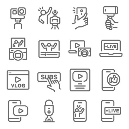 Influencer Vlog icon set vector illustration. Contains such icon as Micro influencer, Social media, Selfie, Live, Creator and more. Expanded Stroke Ilustração