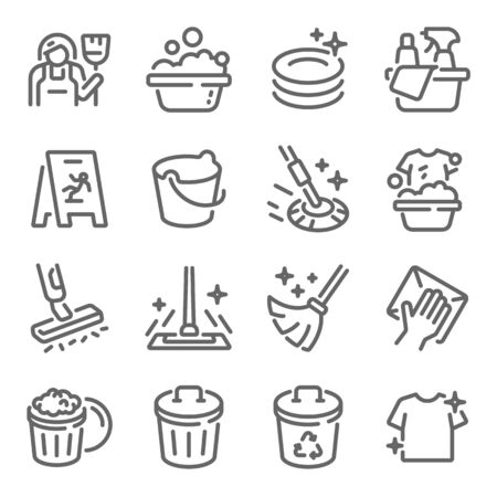 Cleaning icon set vector illustration. Contains such icon as Washing, Swipe, Cleaner, Maid, Mop, Bucket and more. Expanded Stroke