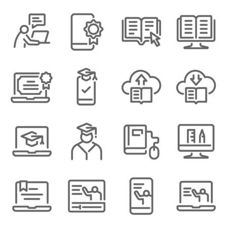 Online education icon set vector illustration. Contains such icon as e-learning, Graduate, Social distancing, Tutorial, Training, e-Book online, and more. Expanded Stroke Ilustração