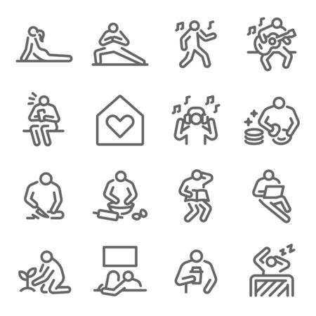 Life at home icon set vector illustration. Contains such icon as Relax, Home cooking, Sleeping, Working from home, Plant, Yoga, and more. Expanded Stroke Ilustração