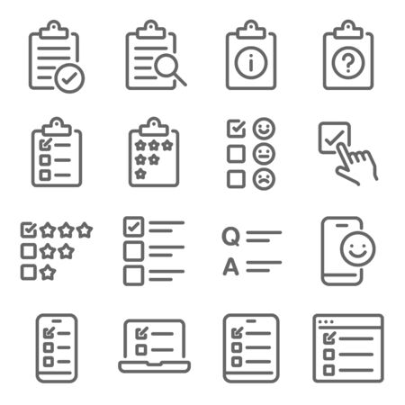 Survey Quiz Research icon set vector illustration. Contains such icon as Rating, Q and A, Questionnaire, Testimonial, Vote, Checklist, and more. Expanded Stroke Ilustração
