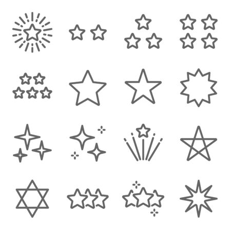 Star vector icon illustration set. Contains such icon as Rating, Glossy, Review, firework, twinkle, glow, glitter, Starry night, and more. Expanded Stroke