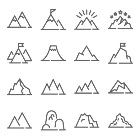 Mountain vector icon illustration set. Contains such icon as Hill, Adventure, Peak, mountain, mount, height, fell, Rocky, and more. Expanded Stroke