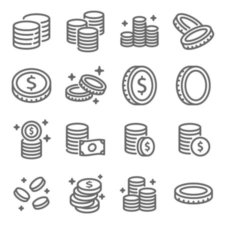 Coin vector icon illustration set. Contains such icon as Money, Currency, Benefit, Finance, Investment, Stack of coins, Payment and more. Expanded Stroke