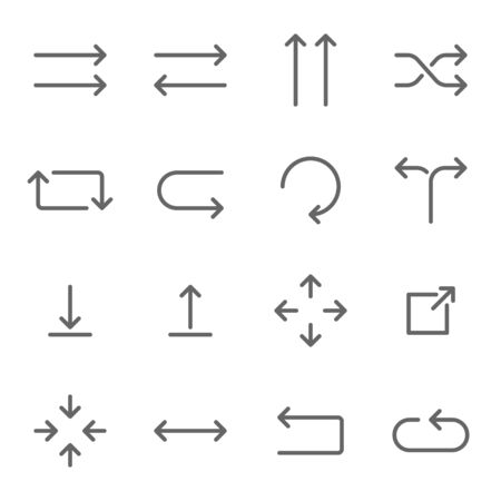 Arrow vector icon set illustration. Contains such icon as Pointer, Direction, Scale, Next, Download, Application, Forward and more. Expanded Stroke Ilustração