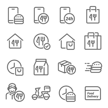Food delivery icon set vector illustration. Contains such icon as Courier, Delivery, Scooter, Food Box, Bike delivery and more. Expanded Stroke Ilustração