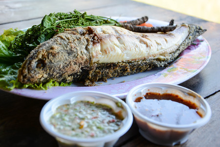 Thai foods grill fish, snakehead murrel or channa striata steak with spicy or Thai seafood sauce and side dishes or vegetables for healthy meal