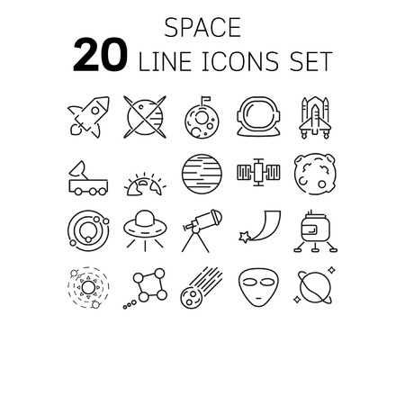 A Vector illustration of thin line icons for space Linear symbols set 64*64 pixels.