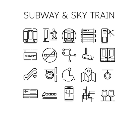 closed circuit television: Vector illustration of thin line icons for Subway and Sky train Linear symbols set 64*64 pixels Illustration