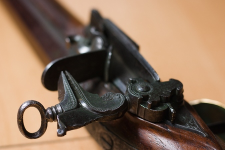 Detail of locking mechanism on antique rifle Archivio Fotografico