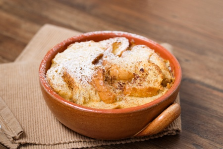 Bread and butter pudding with powdered sugar Stock Photo